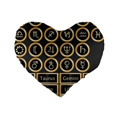 Black And Gold Buttons And Bars Depicting The Signs Of The Astrology Symbols Standard 16  Premium Heart Shape Cushions by Amaryn4rt