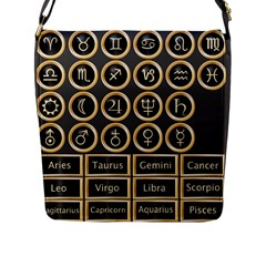 Black And Gold Buttons And Bars Depicting The Signs Of The Astrology Symbols Flap Messenger Bag (l)  by Amaryn4rt
