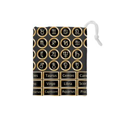 Black And Gold Buttons And Bars Depicting The Signs Of The Astrology Symbols Drawstring Pouches (small)  by Amaryn4rt