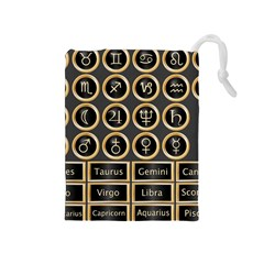 Black And Gold Buttons And Bars Depicting The Signs Of The Astrology Symbols Drawstring Pouches (medium)  by Amaryn4rt