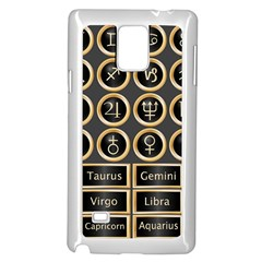 Black And Gold Buttons And Bars Depicting The Signs Of The Astrology Symbols Samsung Galaxy Note 4 Case (white) by Amaryn4rt