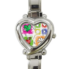 A Set Of Watercolour Icons Heart Italian Charm Watch by Amaryn4rt