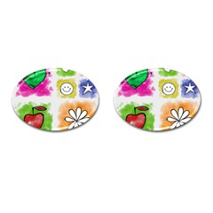 A Set Of Watercolour Icons Cufflinks (oval) by Amaryn4rt