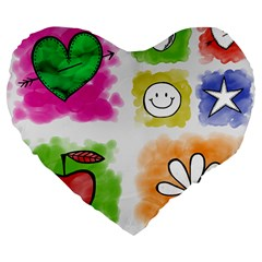 A Set Of Watercolour Icons Large 19  Premium Heart Shape Cushions by Amaryn4rt