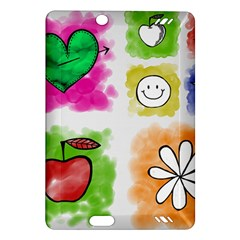 A Set Of Watercolour Icons Amazon Kindle Fire Hd (2013) Hardshell Case by Amaryn4rt