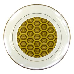 Golden 3d Hexagon Background Porcelain Plates by Amaryn4rt