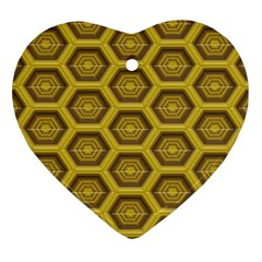 Golden 3d Hexagon Background Heart Ornament (two Sides) by Amaryn4rt