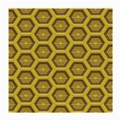 Golden 3d Hexagon Background Medium Glasses Cloth (2 Side) by Amaryn4rt