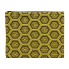 Golden 3d Hexagon Background Cosmetic Bag (xl) by Amaryn4rt