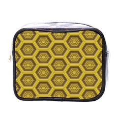 Golden 3d Hexagon Background Mini Toiletries Bags by Amaryn4rt