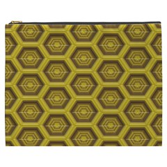Golden 3d Hexagon Background Cosmetic Bag (xxxl)  by Amaryn4rt