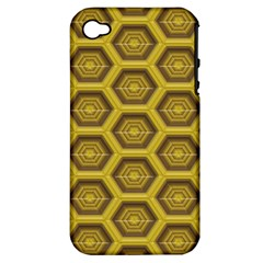 Golden 3d Hexagon Background Apple Iphone 4/4s Hardshell Case (pc+silicone) by Amaryn4rt