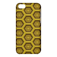 Golden 3d Hexagon Background Apple Iphone 5c Hardshell Case by Amaryn4rt