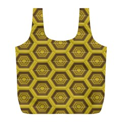 Golden 3d Hexagon Background Full Print Recycle Bags (l)  by Amaryn4rt
