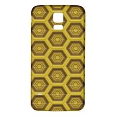 Golden 3d Hexagon Background Samsung Galaxy S5 Back Case (white) by Amaryn4rt