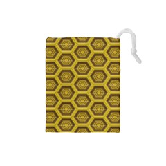 Golden 3d Hexagon Background Drawstring Pouches (small)  by Amaryn4rt