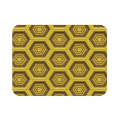 Golden 3d Hexagon Background Double Sided Flano Blanket (mini)  by Amaryn4rt