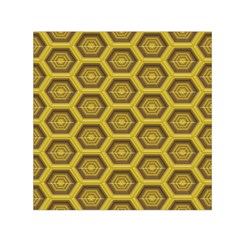Golden 3d Hexagon Background Small Satin Scarf (square) by Amaryn4rt
