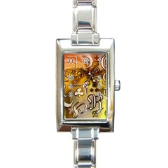 Symbols On Gradient Background Embossed Rectangle Italian Charm Watch by Amaryn4rt