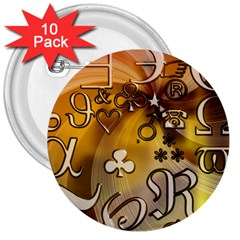 Symbols On Gradient Background Embossed 3  Buttons (10 Pack)  by Amaryn4rt
