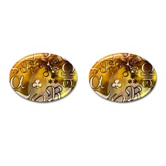 Symbols On Gradient Background Embossed Cufflinks (oval) by Amaryn4rt