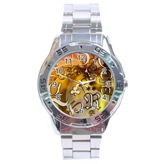 Symbols On Gradient Background Embossed Stainless Steel Analogue Watch by Amaryn4rt
