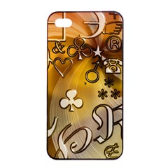 Symbols On Gradient Background Embossed Apple Iphone 4/4s Seamless Case (black) by Amaryn4rt