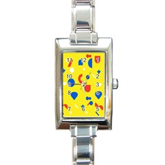 Circle Triangle Red Blue Yellow White Sign Rectangle Italian Charm Watch by Alisyart