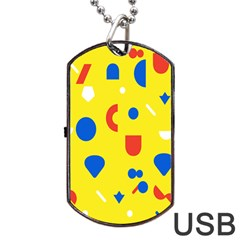 Circle Triangle Red Blue Yellow White Sign Dog Tag Usb Flash (one Side) by Alisyart