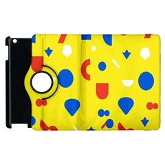 Circle Triangle Red Blue Yellow White Sign Apple Ipad 3/4 Flip 360 Case by Alisyart