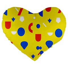 Circle Triangle Red Blue Yellow White Sign Large 19  Premium Heart Shape Cushions by Alisyart