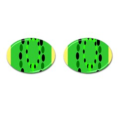 Circular Dot Selections Green Yellow Black Cufflinks (oval) by Alisyart