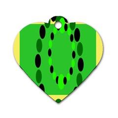 Circular Dot Selections Green Yellow Black Dog Tag Heart (one Side) by Alisyart