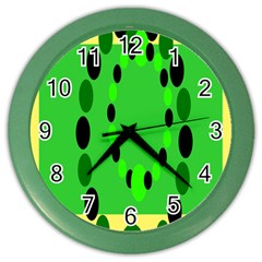 Circular Dot Selections Green Yellow Black Color Wall Clocks by Alisyart
