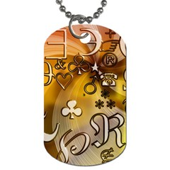 Symbols On Gradient Background Embossed Dog Tag (two Sides) by Amaryn4rt