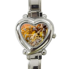 Symbols On Gradient Background Embossed Heart Italian Charm Watch by Amaryn4rt