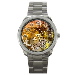 Symbols On Gradient Background Embossed Sport Metal Watch by Amaryn4rt