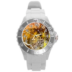 Symbols On Gradient Background Embossed Round Plastic Sport Watch (l) by Amaryn4rt