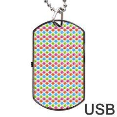 Colorful Floral Seamless Red Blue Green Pink Dog Tag Usb Flash (one Side) by Alisyart