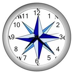 Compass Blue Star Wall Clocks (silver)  by Alisyart