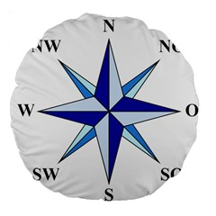 Compass Blue Star Large 18  Premium Flano Round Cushions by Alisyart