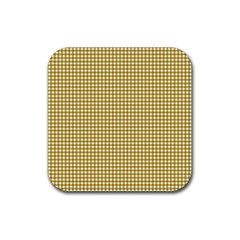 Golden Yellow Tablecloth Plaid Line Rubber Square Coaster (4 Pack)  by Alisyart