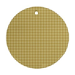 Golden Yellow Tablecloth Plaid Line Round Ornament (two Sides) by Alisyart