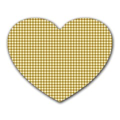 Golden Yellow Tablecloth Plaid Line Heart Mousepads by Alisyart