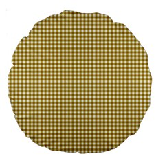 Golden Yellow Tablecloth Plaid Line Large 18  Premium Round Cushions by Alisyart