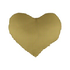 Golden Yellow Tablecloth Plaid Line Standard 16  Premium Heart Shape Cushions by Alisyart