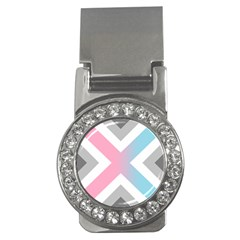 Flag X Blue Pink Grey White Chevron Money Clips (cz)  by Alisyart