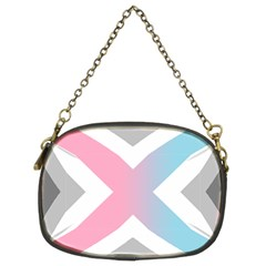 Flag X Blue Pink Grey White Chevron Chain Purses (two Sides)  by Alisyart