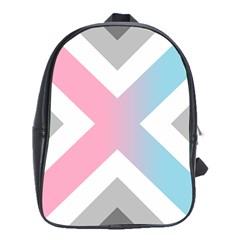 Flag X Blue Pink Grey White Chevron School Bags (xl)  by Alisyart