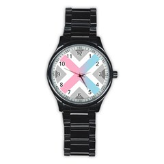 Flag X Blue Pink Grey White Chevron Stainless Steel Round Watch by Alisyart